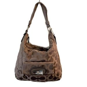 Coach Op Art Sateen Hobo Signature Bag - 14761